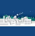 paper cut winter christmas city and santa claus vector image