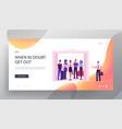 passengers in elevator website landing page vector image vector image