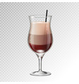realistic cocktail irish coffee glass vector image vector image