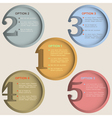 Round numbered banners in retro colors vector image