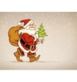 Santa claus walking with sack vector image vector image