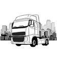 semi-truck on road on city background vector image