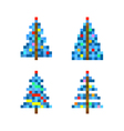 set of four pixel art christmas tree vector image vector image