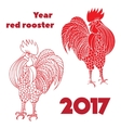 Silhouette of a rooster Hand-drawn doodle contour vector image