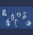 silhouettes of christmas elements on snowflakes vector image vector image