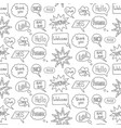 Speech bubble doodle seamless pattern on white