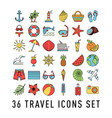 summer set 36 travel icons thin line style vector image vector image