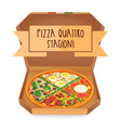 the real pizza quattro stagioni pizza four vector image vector image