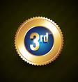 third number golden badge design vector image vector image