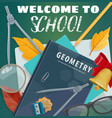 welcome to school blackboard and books poster vector image