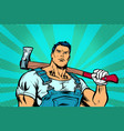 woodcutter man with woodcutter ax vector image