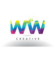 ww w colorful letter origami triangles design vector image vector image