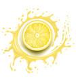 yellow lemon slice with splash and juice drops vector image