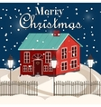 House in snowfall Christmas greeting card vector image