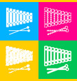 xylophone sign four styles of icon on four color vector image