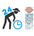 Around The Clock Work Icon With 2017 Year Bonus vector image vector image