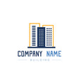 blue and orange logo building on whiet background vector image vector image