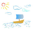 boat on the waves of the sun sunshine vector image vector image