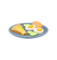 boiled egg sandwich with cheese and cucmber on a vector image vector image