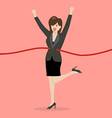 Business woman running at the finish line vector image