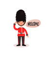 cartoon character of guardsman in uniform and hat vector image
