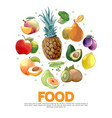 cartoon fruits and vegetables concept vector image vector image