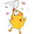Chicken and butterflies cartoon vector image