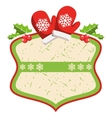 Christmas Label Icon Flat Frame with Winter Gloves vector image vector image