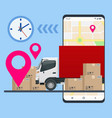 delivery truck with cardboard box mobile phone vector image