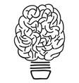 doodle brain lightbulb outline vector image