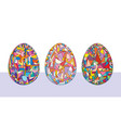 easter eggs set hand drawn vector image
