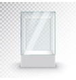 empty glass showcase on pedestal museum glass box vector image vector image