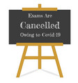 exams are cancelled owing to covid-19 vector image vector image