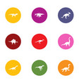 extinct icons set flat style vector image vector image