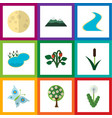 flat icon nature set of lunar floral tributary vector image vector image
