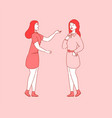 friendly talking woman coworkers friends meeting vector image