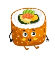 Funny sushi roll isolated cartoon character vector image vector image