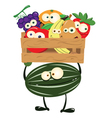 Funny Watermelon with a Box of Fruit vector image vector image