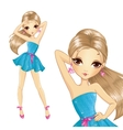 Girl In Evening Short Blue Dress vector image vector image