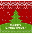Green knitted Christmas tree applique background vector image vector image