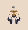 hands holding moon and potted plant sacred vector image vector image