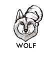 hipster wolf muzzle wearing santa hat hand drawn vector image vector image