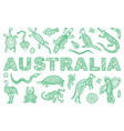 inscription australia and outline the vector image