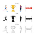 isolated object of sport and winner sign set of vector image vector image