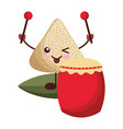 kawaii happy rice dumpling with drum and vector image vector image