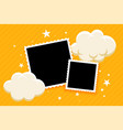 kids style photo frames with clouds and stars vector image