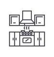 kitchen furniture line icon si vector image vector image