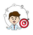 man with arrow target and technology icons data vector image vector image
