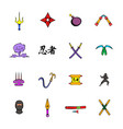 ninja weapon icons set cartoon vector image