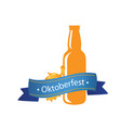 oktoberfest blue ribbon bottle beer background vec vector image